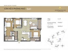 Bán căn hộ Đảo Kim Cương quận 2, tháp Bora Bora, 3 phòng ngủ, 117 m2, lầu 12, view hồ bơi, 5.5 tỷ