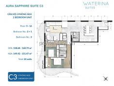Căn hộ Waterina Suites, diện tích 169m2, tầng 5, 2PN