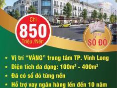 Bán Đất Nền Mặt Tiền TP Vỉnh Long giá chỉ 850 triệu/nền sổ đỏ liền tay . LH 0904790879