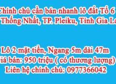 Chính chủ cần bán nhanh lô đất Tổ 6, P. Thống Nhất, TP. Pleiku, Tỉnh Gia Lai