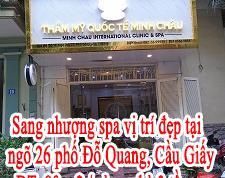 Sang nhượng spa vị trí đẹp tại ngõ 26 phố Đỗ Quang, quận Cầu Giấy, Hà Nội