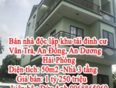 Bán nhà độc lập khu tái đinh cư Vân Trà, An Đồng, An Dương, Hải Phòng