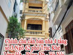 Chính chủ cần bán nhà 4 tầng số 3 Ngõ 62 phố Trúc Khê - Láng Hạ - Đống Đa - Hà Nội