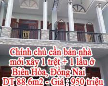 Chính chủ cần bán nhà mới xây 1 trệt + 1 lầu ở Biên Hòa, Đồng Nai