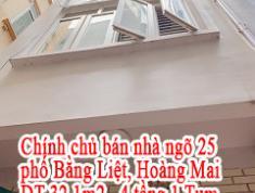 Chính chủ bán nhà ngõ 25 phố Bằng Liệt - Hoàng Mai - Hà Nội