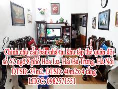 Chính chủ cần bán nhà  tại khu tập thể quân đội số 52 ngõ 8 phố Hoa Lư, Hai Bà Trưng, Hà Nội. Sđcc
