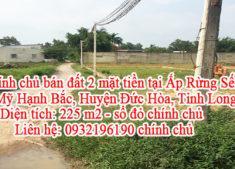 Chính chủ bán đất 2 mặt tiền tại Ấp Rừng Sến, Xã Mỹ Hạnh Bắc, Huyện Đức Hòa, Tỉnh Long An