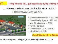 22,5 tỷ chuyển nhượng quĩ đất dự án trường mầm non cho 5000 m2 đất sổ đỏ 50 năm tại Hoài Đức, Hà